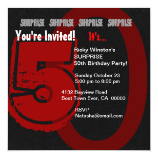 SURPRISE Grunge 50th Birthday Red and Black W202 13 Cm X 13 Cm Square Invitation Card