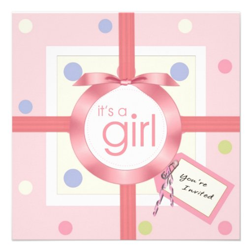 surprise it 39 s a baby girl baby shower invitation 13 cm x 13 cm square