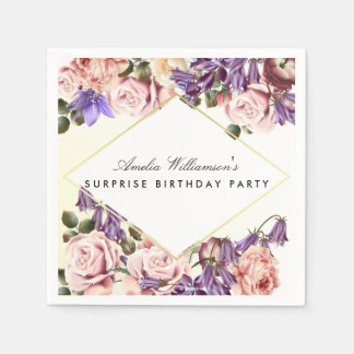 Surprise Party | Beautiful Bluebells and Roses Paper Napkin
