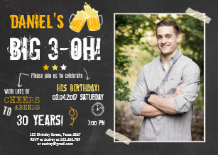 30th birthday invitations zazzle surprise party cheers and beers birthday 30th men invitation filmwisefo