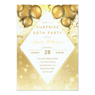 Surprise Party | Glam Gold Balloons & Confetti Card