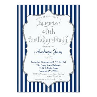 Surprise Party Invitation Navy Blue Silver Elegant