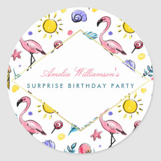 Surprise Party   Summer Flamingo, Lollipop and Sun Classic Round Sticker