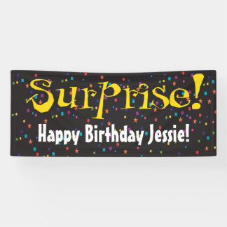Surprise party with confetti banner