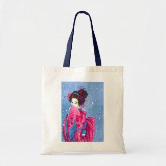 Surprise Snow Geisha Art Budget Tote Canvas Bags