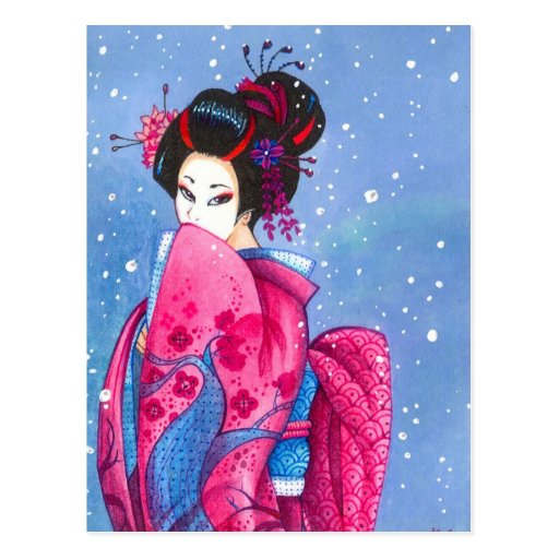 Surprise Snow Geisha Art Print Custom Postcard
