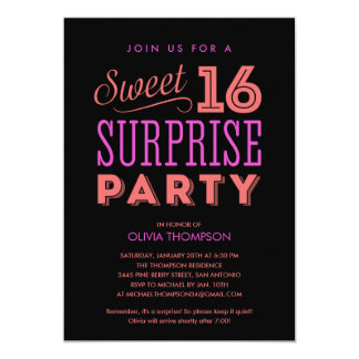 Surprise Sweet 16 Invitations