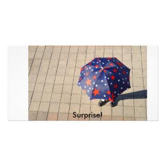 Surprise under the umbrella, Surprise! Personalised Photo Card