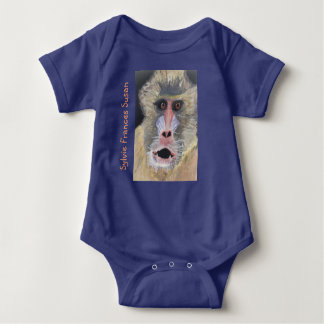 "Surprised Baboon Back ""Guess Who?"" Add Baby Name Baby Bodysuit"