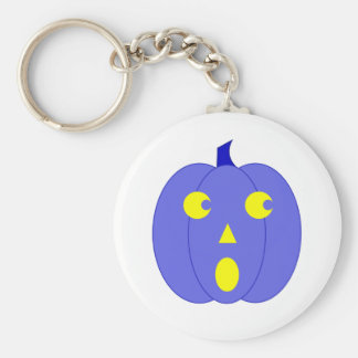 Surprised Blue Jack-o'-Lantern Key Chain
