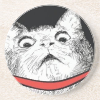 Surprised Cat Gasp Meme - Drink Premium Coaster