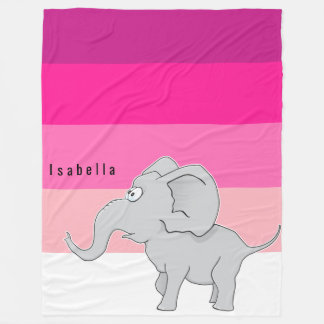 Surprised Elephant Hot Deep Pale Pink Monogram Fleece Blanket