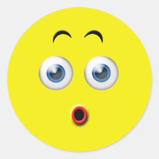 Surprised Emoji Classic Round Sticker
