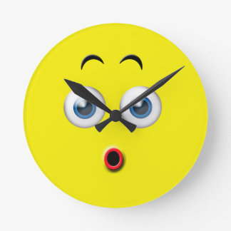 Surprised Emoji Round Clock