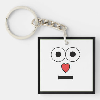 Surprised Face with Heart Nose Key Ring