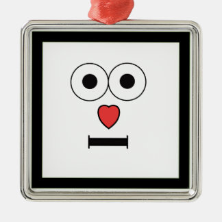 Surprised Face with Heart Nose Metal Ornament