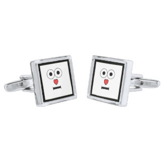 Surprised Face with Heart Nose Silver Finish Cuff Links