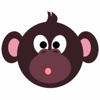 Surprised Monkey pin Photo Sculpture Badge