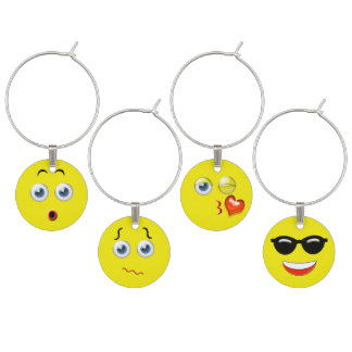 Surprised Puzzled Blow A Kiss & Cool Emojis Wine Charm