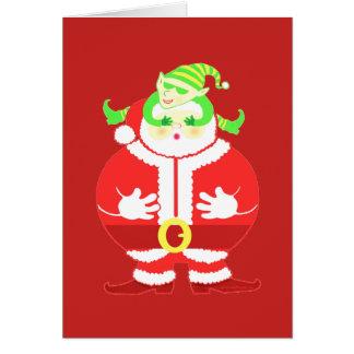 Surprised Santa (red) greeting card