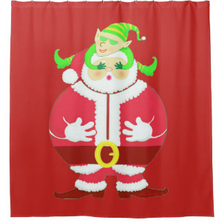 Surprised Santa shower curtain / backdrop