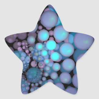 Surreal Art Fractal Turquoise Balls Star Sticker