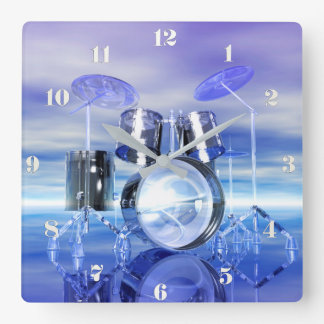 Surreal Beach Drum Set Music Wall Clock
