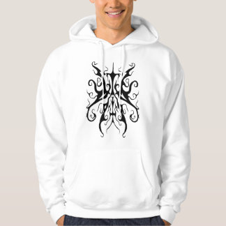 Surreal Butterfly Tribal Tattoo black and white Hoodie