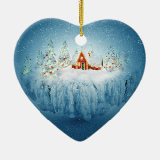 Surreal Christmas Fantasy Ceramic Heart Ornament