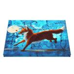 Surreal Fantasy Fox Kitsune on Blue Canvas Print