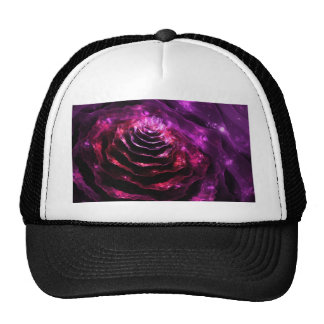 Surreal floral futuristic indigo violet  pattern mesh hats