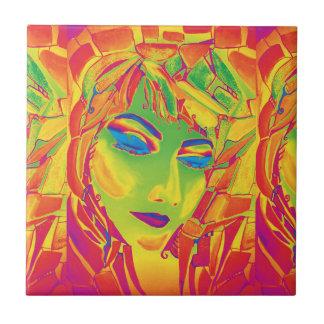 Surreal girl watercolor painting ceramic tile