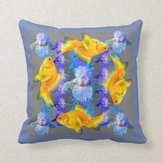 SURREAL GOLD FISH & BLUE BUTTERFLIES ARTWORK CUSHION