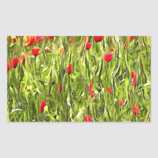 Surreal Hypnotic Poppies Rectangular Sticker