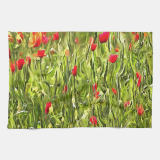 Surreal Hypnotic Poppies Tea Towel