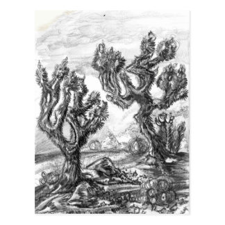 Surreal Joshua Trees in Mojave Desert Art Card Postcard