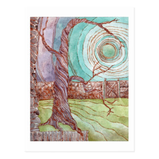 Surreal Landscape Watercolor Painting Post Card