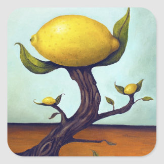 Surreal Lemon Tree Square Sticker