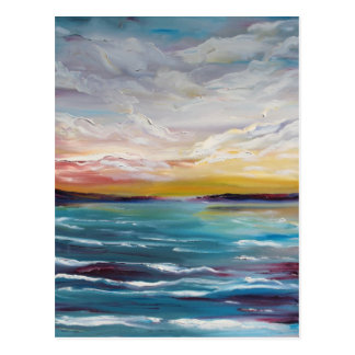 Surreal Ocean Waves and Clouds Postcard