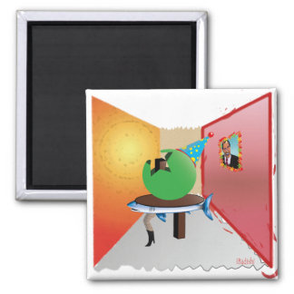 Surreal Party - Colorful, Weird and Artistic Square Magnet