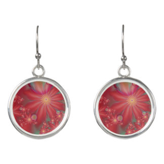 Surreal Red Floral Earrings
