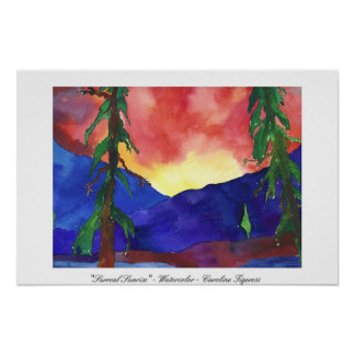 """Surreal Sunrise"" - Watercolor - Caroline Tigeress Poster"