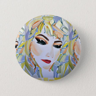 Surreal Swedish girl - watercolor painting 6 Cm Round Badge