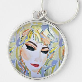 Surreal Swedish girl - watercolor painting Key Ring