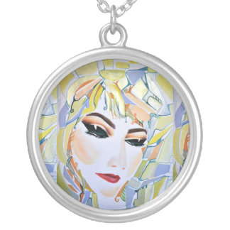 Surreal Swedish girl - watercolor painting Silver Plated Necklace