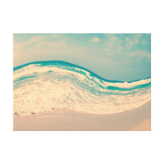 Surreal Vintage Beach Wave in Pastel Colors Canvas Print