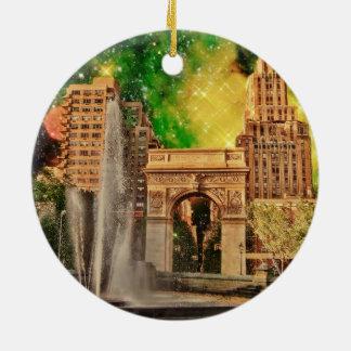 Surreal Washington Square Park, NYC Ceramic Ornament