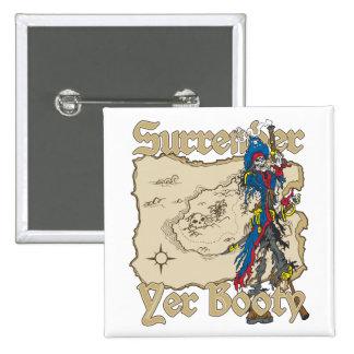 Surrender Yer Booty Pirate Treasure Map 15 Cm Square Badge
