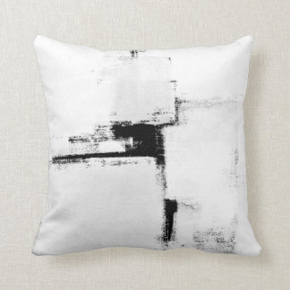 'Surround' Black and White Abstract Art Pillow