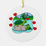 Surrounded By Turtle Love Double-Sided Ceramic Round Christmas Ornament